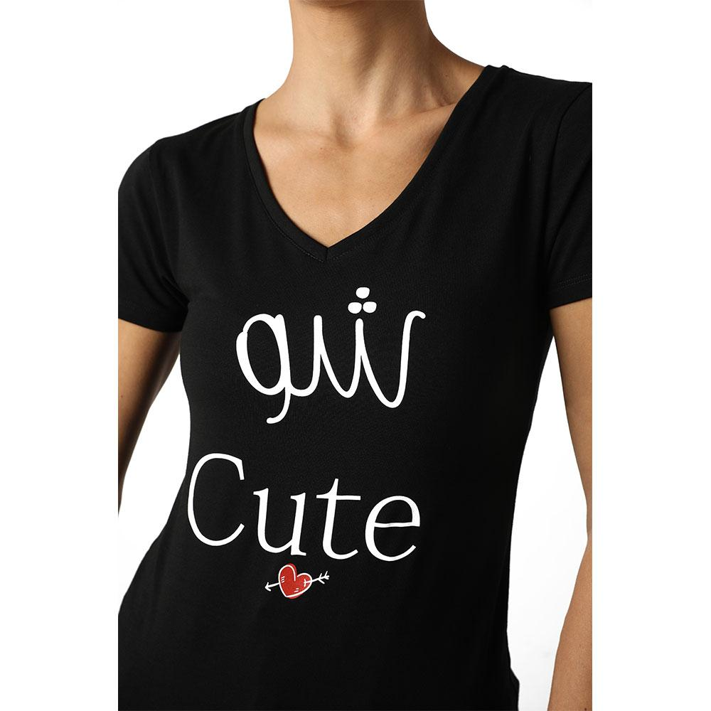 Chou Cute Black V-neck T-shirt