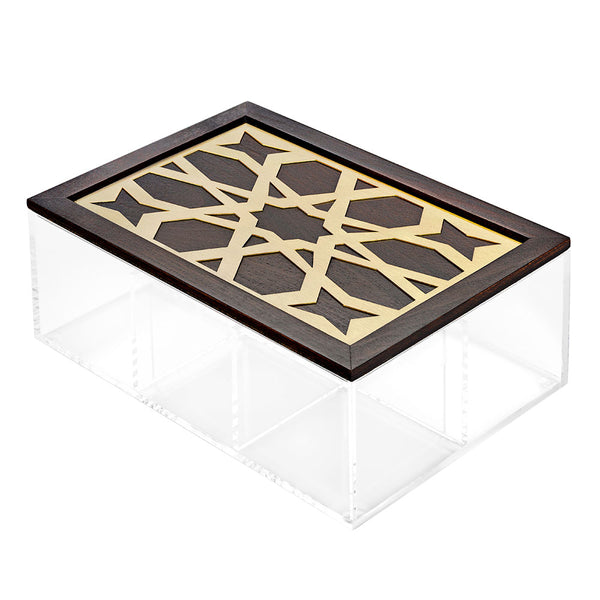 Gold Moucharabieh Tea Box - 6 compartments