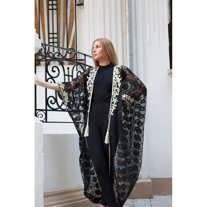 Black & Gold Dentelle Abaya