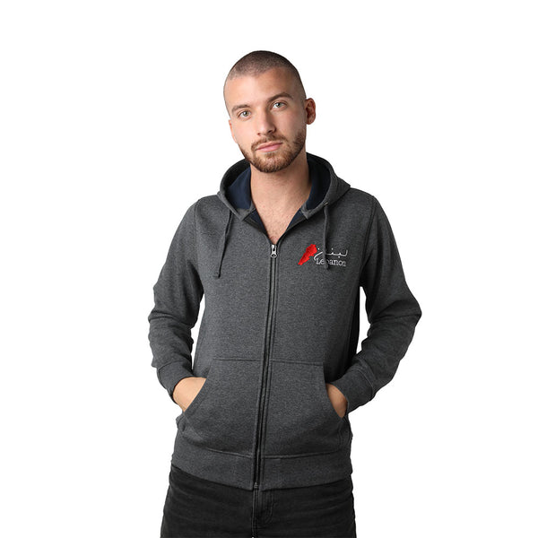 Dark Grey Lebanon Men's Zip Up Sweater