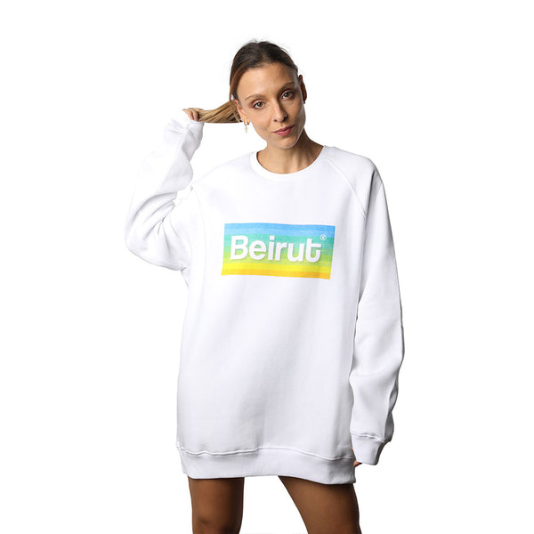 Beirut Rainbow on White Sweater