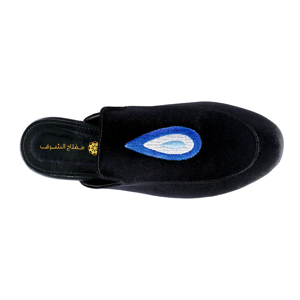Evil Eye Teardrop Mules - Black