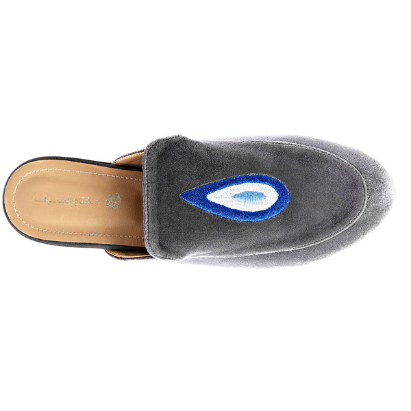Evil Eye Teardrop Mules - Grey