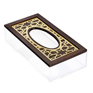 Gold Moucharabieh Tissue Box - Oval
