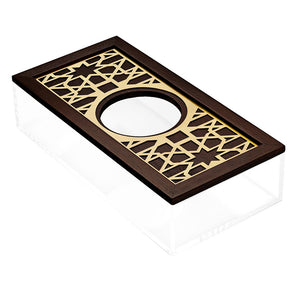 Gold Moucharabieh Tissue Box - Round