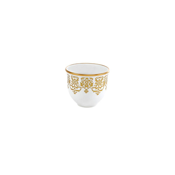 Gold & White Coffee Cups - Set of 6