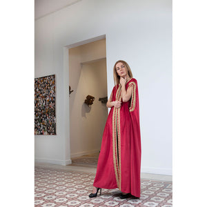 Royal Red Velvet Abaya