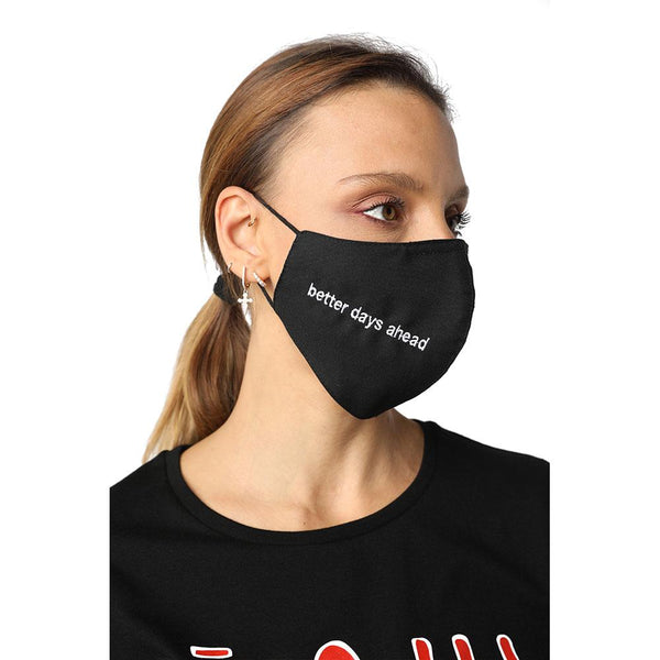 Better Days Ahead Black Reusable Face Mask