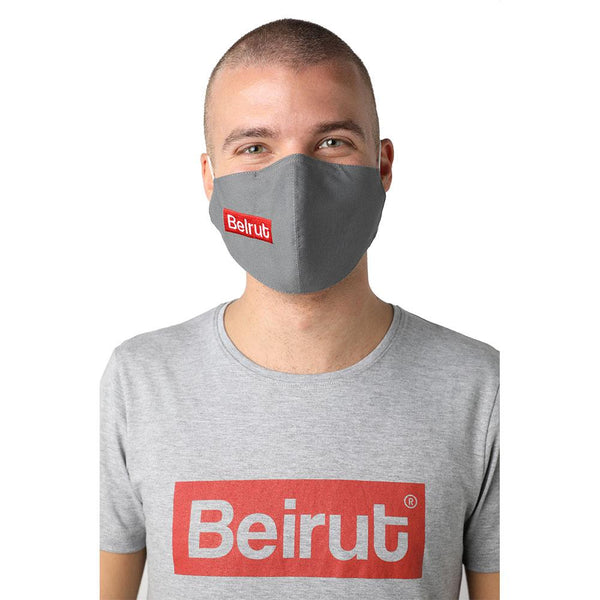 Beirut Red on Grey Reusable Face Mask
