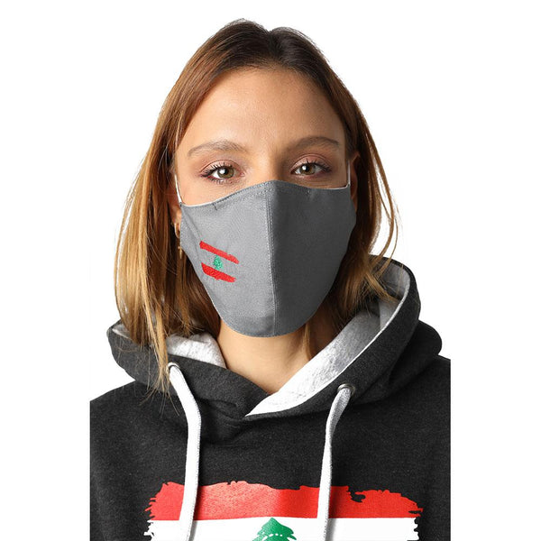 Flag of Lebanon Grey Reusable Face Mask