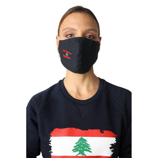 Flag of Lebanon Navy Blue Reusable Face Mask