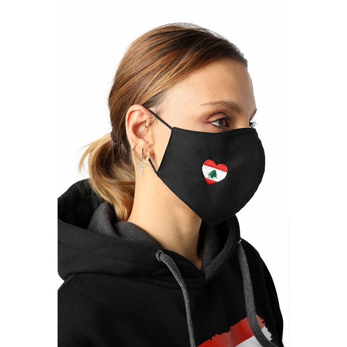 I Heart Lebanon Black Reusable Face Mask
