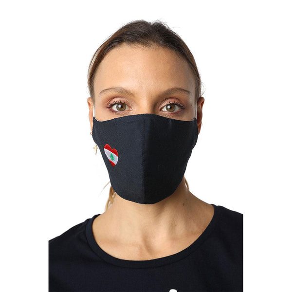 I Heart Lebanon Navy Blue Reusable Face Mask