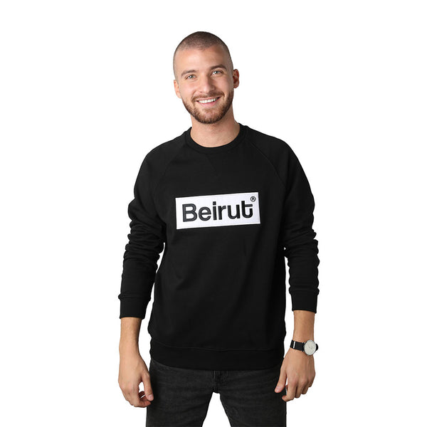 Embroidered Beirut White on Black Men's Sweater