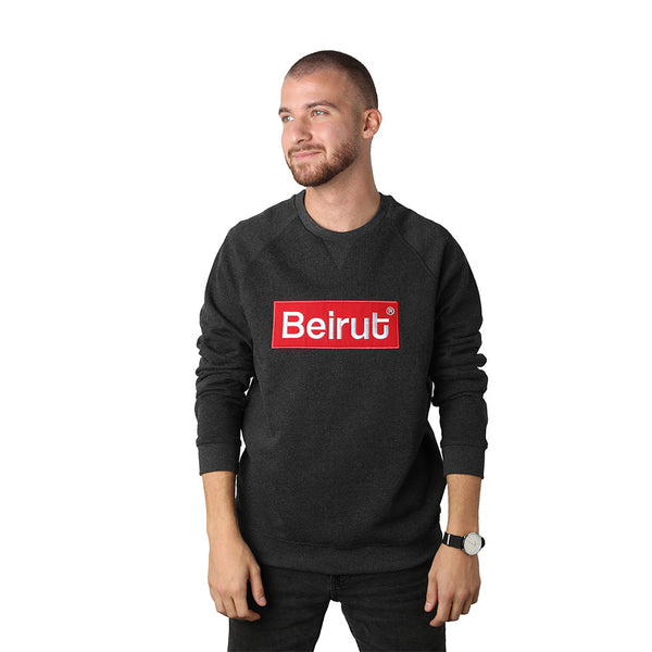 Embroidered Beirut Red on Dark Grey Men's Sweater