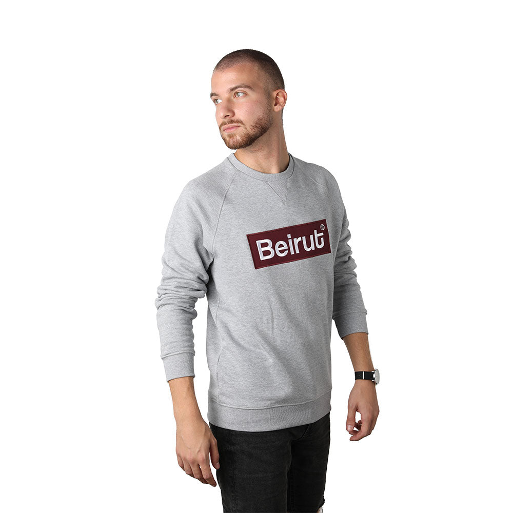Embroidered Beirut Burgundy on Grey Men's Sweater