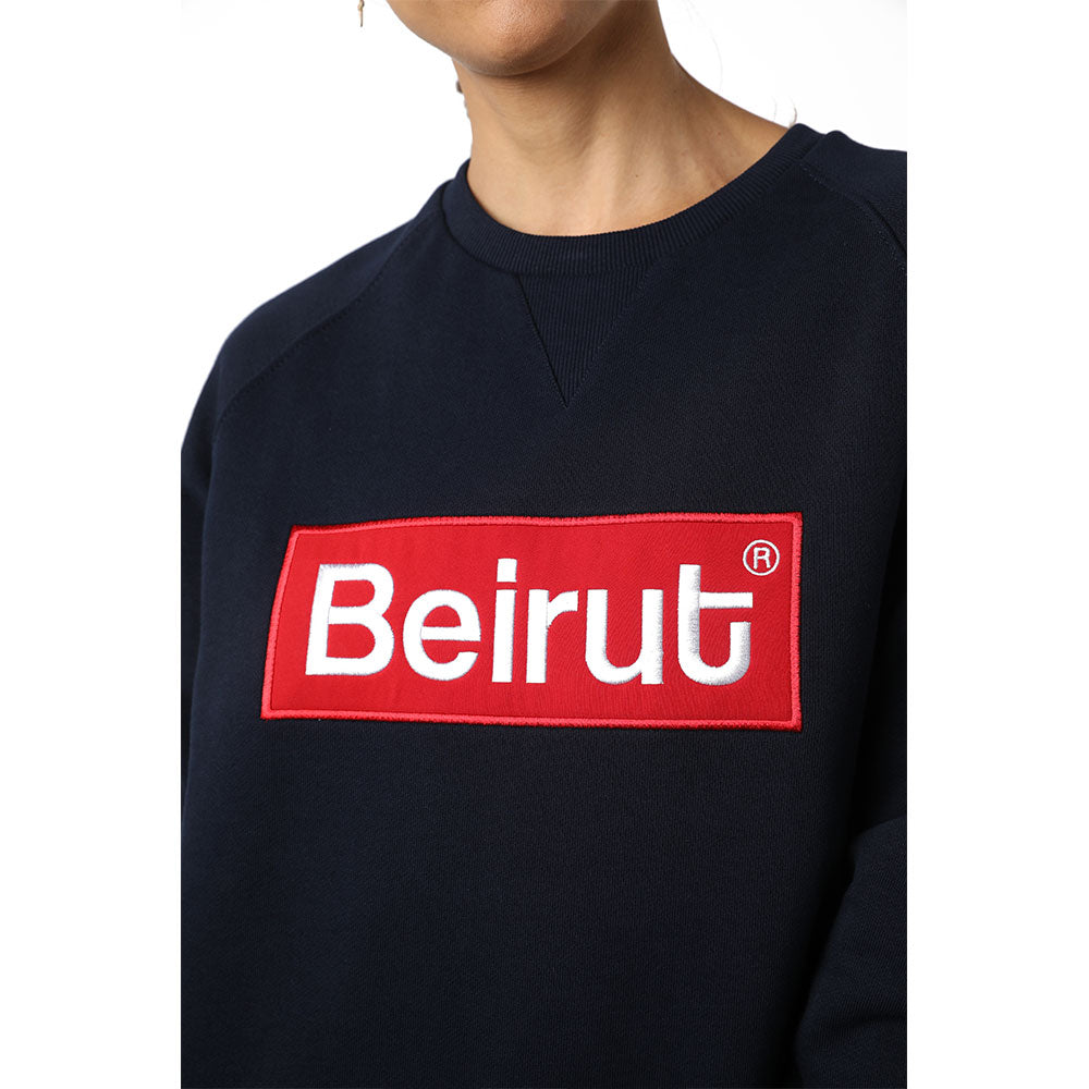 Embroidered Beirut Red on Navy Blue Sweater