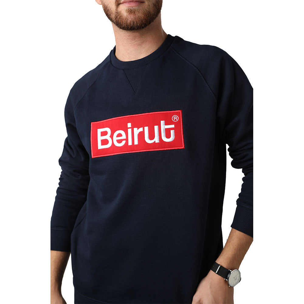 Embroidered Beirut Red on Navy Blue Men's Sweater