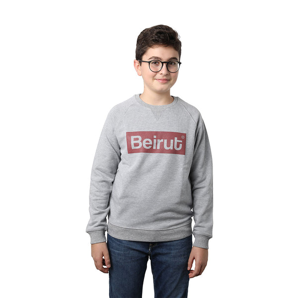 Beirut Burgundy on Grey Kids Sweater