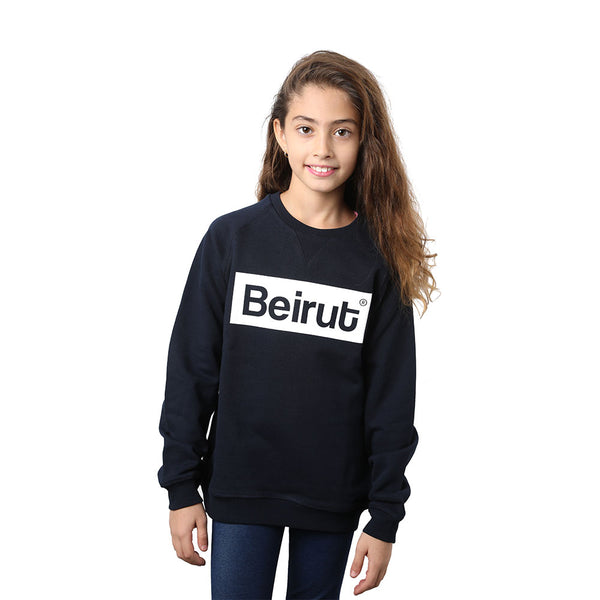 Beirut Burgundy on Navy Blue Kids Sweater