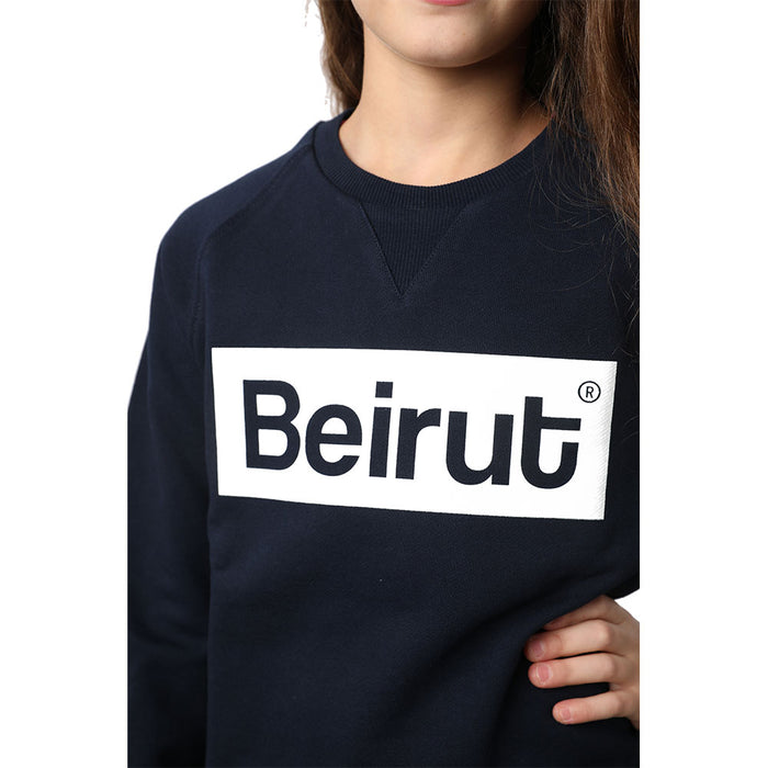 Beirut White on Navy Blue Kids Sweater