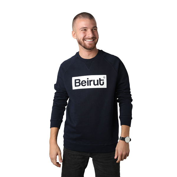 Beirut White on Navy Blue Men's Sweater