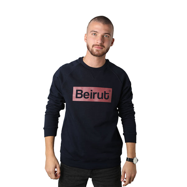 Beirut Burgundy on Navy Blue Men's Sweater