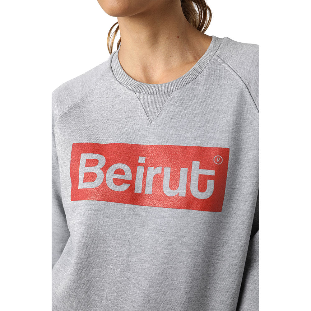 Beirut Red on Grey Sweater