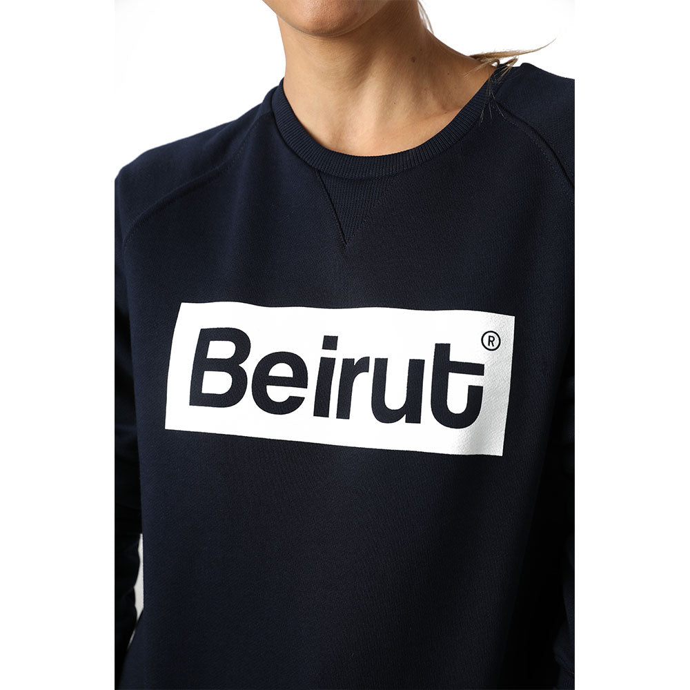 Beirut White on Navy Blue Sweater