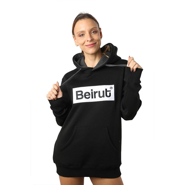 Embroidered Beirut White on Black Hoodie
