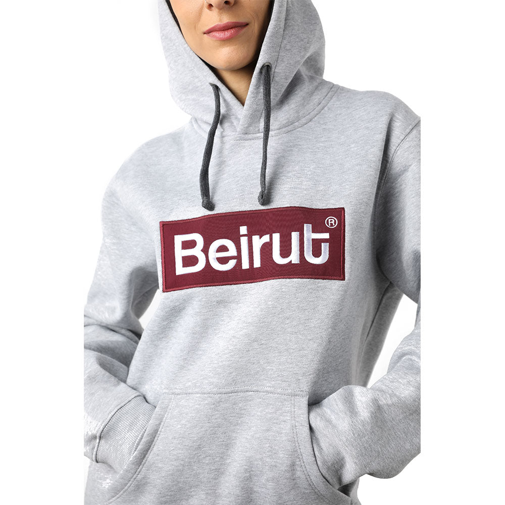 Embroidered Beirut Burgundy on Grey Hoodie