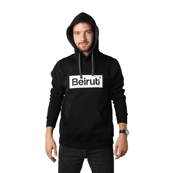 Embroidered Beirut White on Black Men's Hoodie