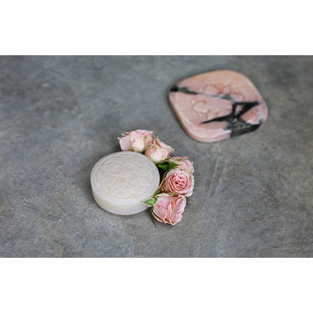 Pink Marble Plate with 3 Ma'amoul Soaps