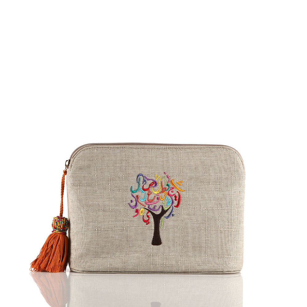 Beige Tree of Life Pouch