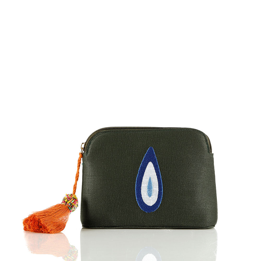 Olive Green Evil Eye Teardrop Pouch