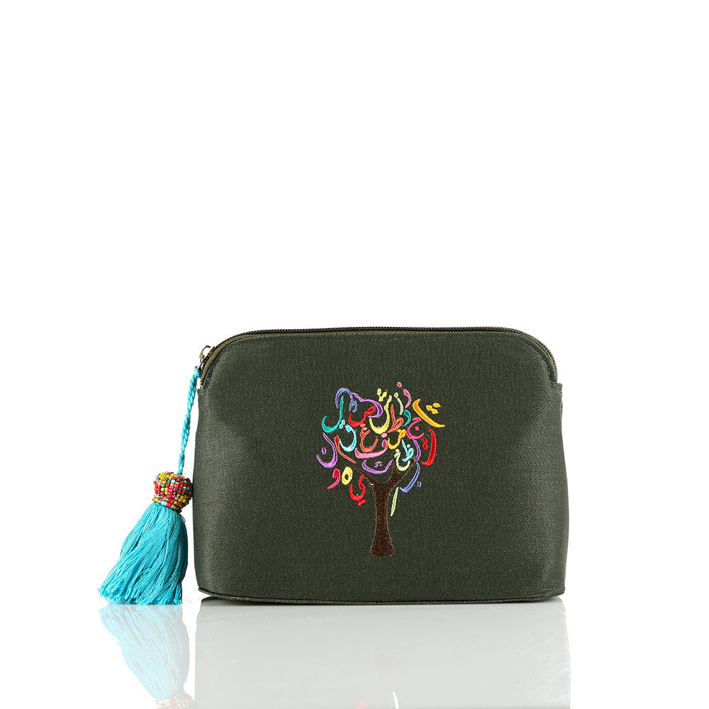 Olive Green Tree of Life Pouch