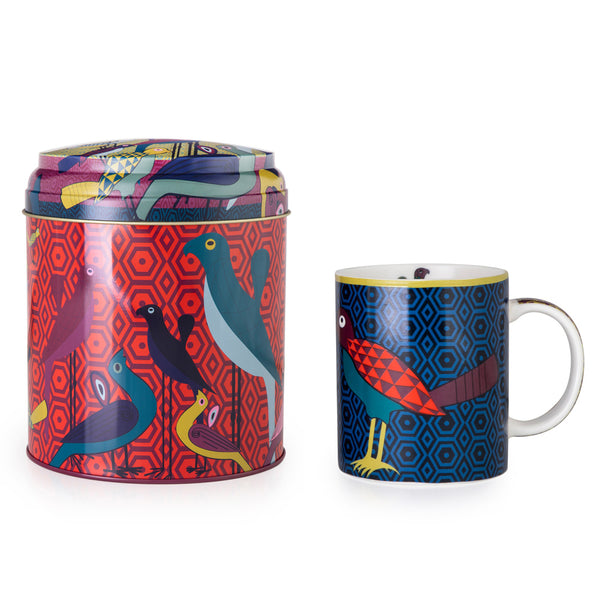 Birds of Paradise Tin Box With Mug
