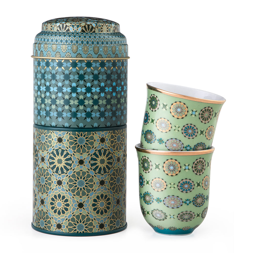 Andalusia Tin Box With 2 Coffee Cups 90 mL