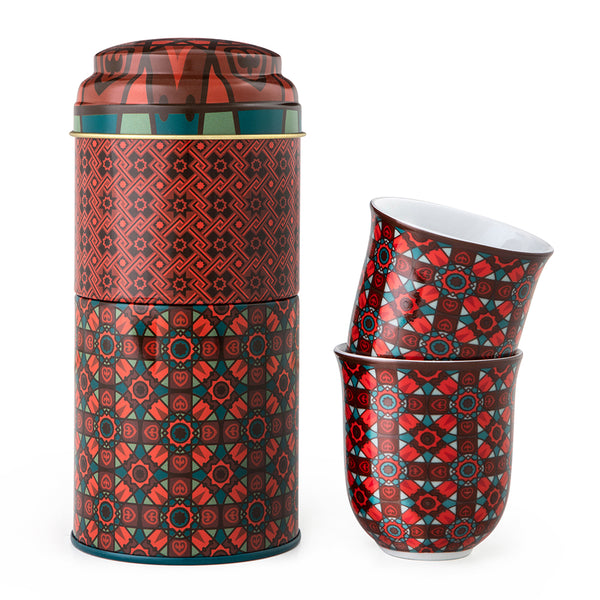 Kalea Tin Box With 2 Coffee Cups 90 mL