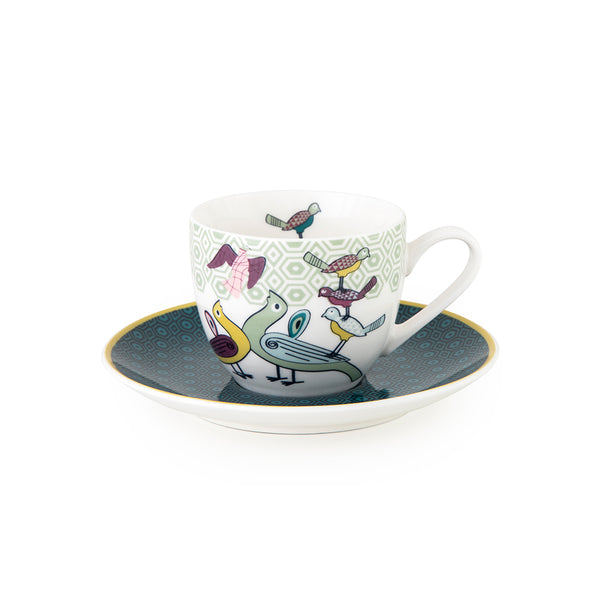 Birds of Paradise Coffee Cups & Saucers - Set of 4