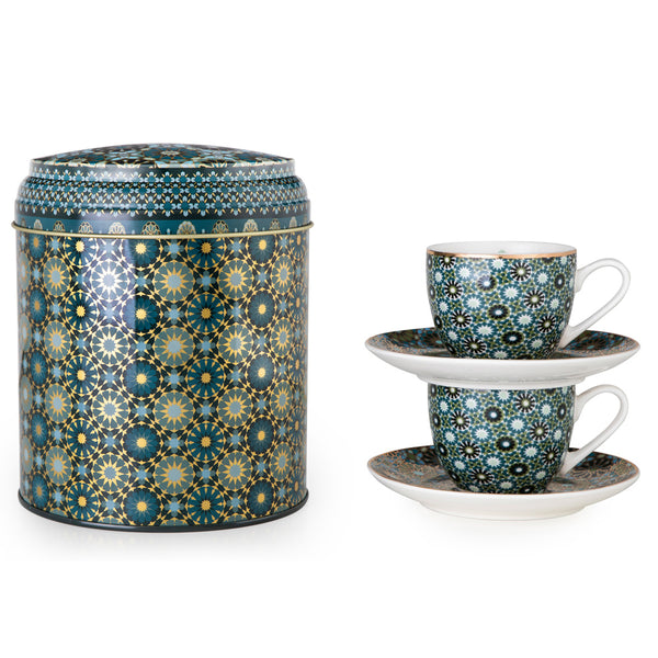 Andalusia Tin Box with 2 Coffee Cups & Saucers