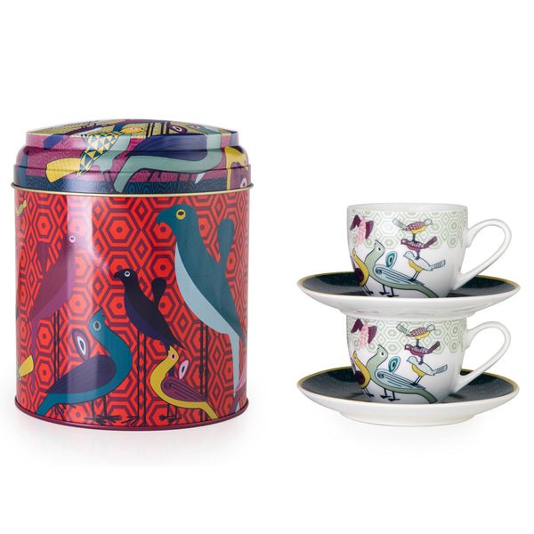 Birds of Paradise Tin Box with 2 Coffee Cups & Saucers