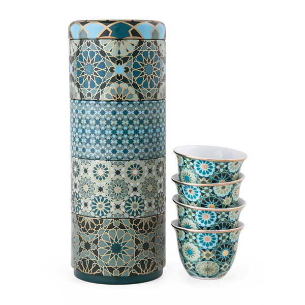Andalusia Tin Box With 4 Coffee Cups 60 mL