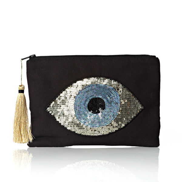 Black Evil Eye Pouch Bag