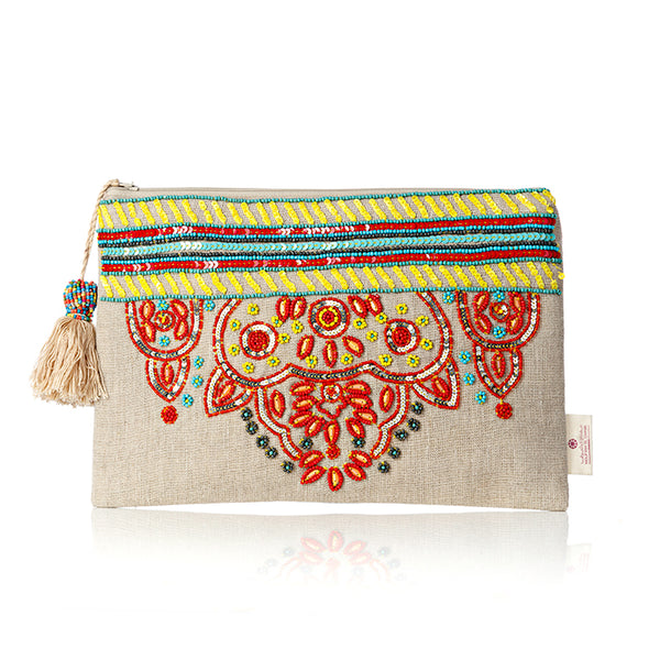 Bohemian Beaded Cotton Pouch