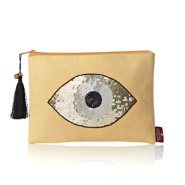 Beige Evil Eye Pouch Bag