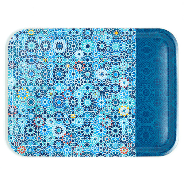 Moucharabieh Blue Rectangular Tray 46x34cm