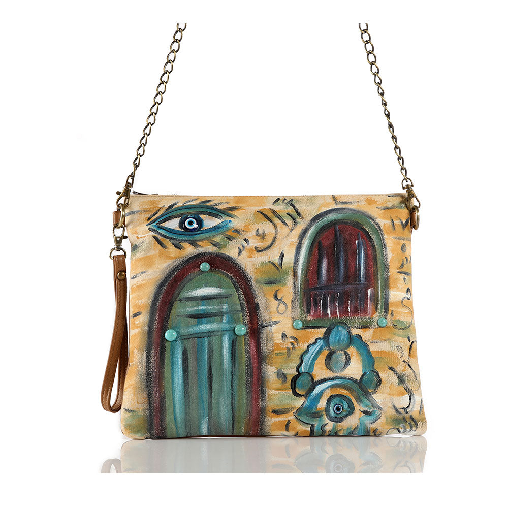 Hand Painted Lebanese House With Hamsa Crossbag