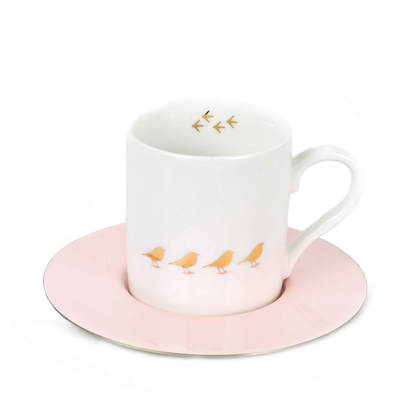 Bird Espresso Cups & Pink Saucers - Set of 6