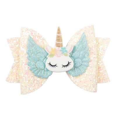 "3"" Chunky Glitter Unicorn Hair Bow"
